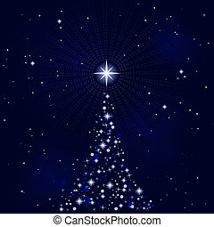 peacefull, nacht, boompje, kerstmis, starry
