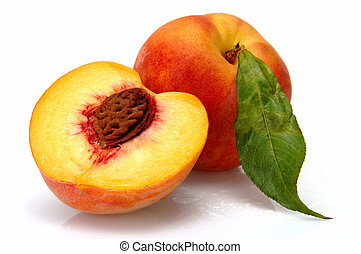 peach and half of piece with bean