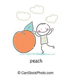 Peach and man