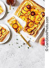 Peach and Plum Tart - Peach, Plum and Thyme Puff Pastry Tart...