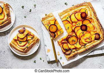 Peach and Plum Tart - Peach, Plum and Thyme Puff Pastry Tart