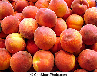 Peach background - fruit and vegetables on a market - Mercat...