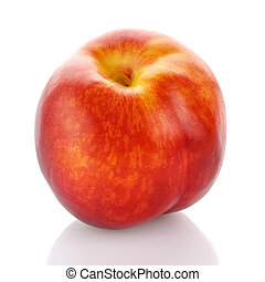 Beautiful ripe peach isolated on white background