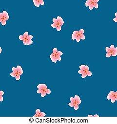 Peach Blossom Seamless on Indigo Blue Background