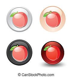 Peach button, set, web 2.0 icons