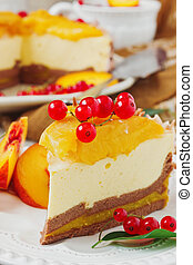 peach cake with cream