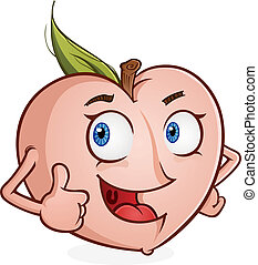 Peach Cartoon Character Thumbs Up