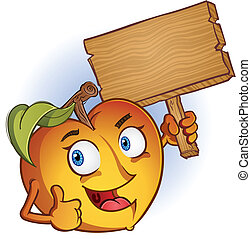 A sweet delicious peach throwing out a thumbs up and holding a blank sign, perfect for a message.