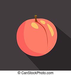 Peach cartoon flat icon. Dark background. Vector illustration.
