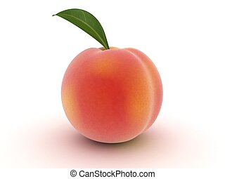peach - 3d rendered illustration of an isolated peach