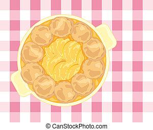 peach cobbler - an illustration of a cobbler dessert with...