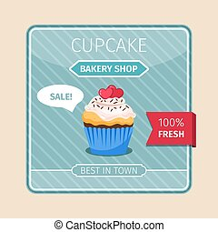 Peach color cupcake with hearts card