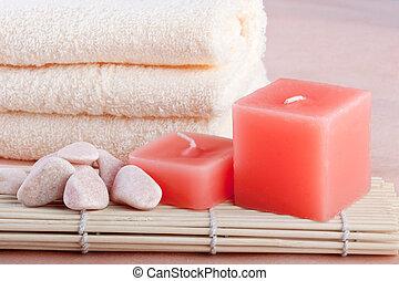 peach color spa setting