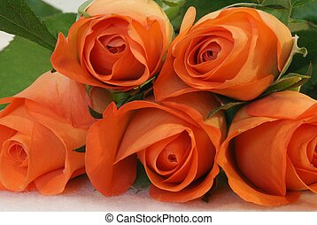 Peach coloured roses in a pile