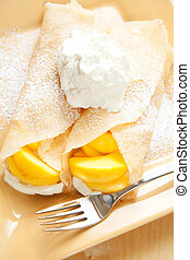 Peach Crepes - Peach crepes with a large dollop of whipped ...