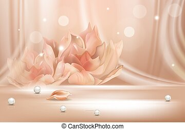 Peach flower gradient soft abstract background scene realistic vector illustration concept. Light lines, flower contour, pearl, petal. Base for advertising, poster, banner, magazine, web page