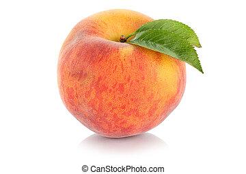 Peach fresh fruit isolated on white