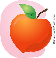 Peach fruit illustration