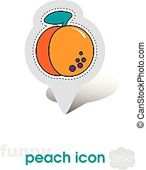 Peach fruit or nectarine with leaf pin map icon