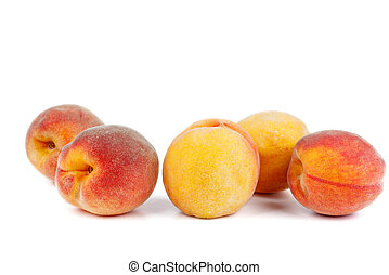 Peach fruits isolated on white background