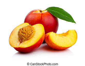 Peach fruits with slice and green leaves isolated