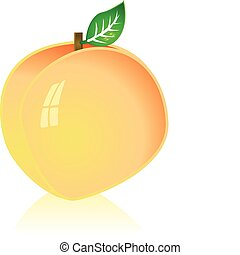 Peach - Glossy illustration of a ripe peach