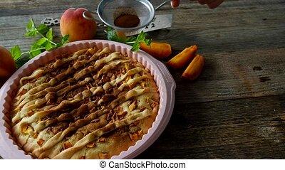 Peach homemade pie - Girl decorate peach homemade pie with...