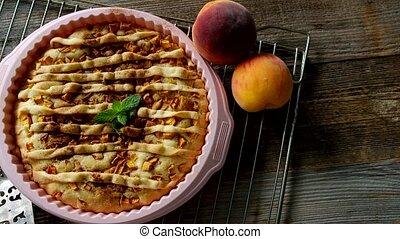 Peach homemade pie