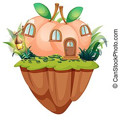 Peach house on the cliff illustration