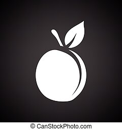Peach icon. Black background with white. Vector illustration...