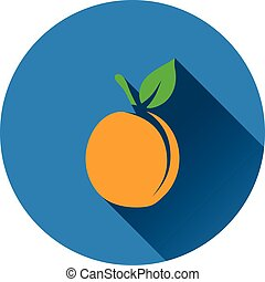 Peach icon. Flat design. Vector illustration.