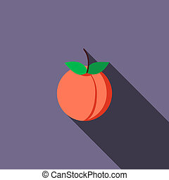 Peach icon, flat style