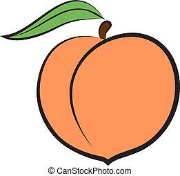 Hand-drawn icon of peach. Vector illustration