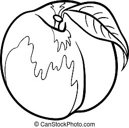 Black and White Cartoon Illustration of Peach Fruit Food Object for Coloring Book