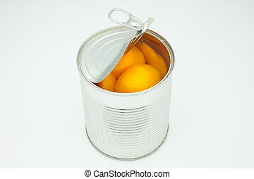 peach in conserve in a silver canister