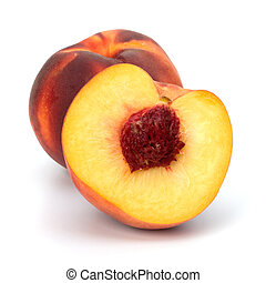 peach isolated on white background close up