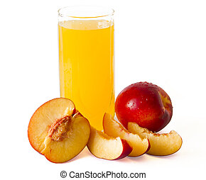 peach juice in glass with peaches around it