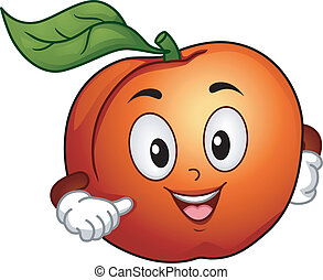 Mascot Illustration Featuring a Happy Peach Pointing to Itself