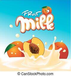 peach milk yogurt design - vector illustration