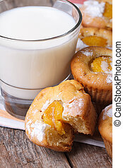peach muffins with milk close-up on the table. vertical