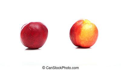 Peach over white background