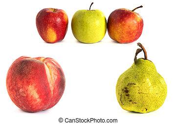 peach pear apple on a white vone. Isolate.
