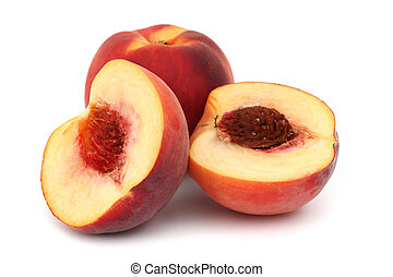 peach pile slice isolated on white