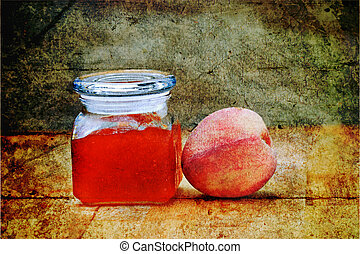 Peach Preserves - Photo based illustration of homemade peach...