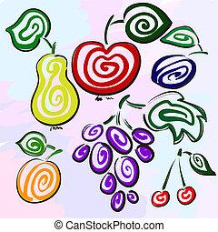 peach., prune, utilisé, identity., cerise, postcard., apple., raisin, il, hand-drawn., poire, individu, boîte, fruits, mystérieux, être, baies, constitué
