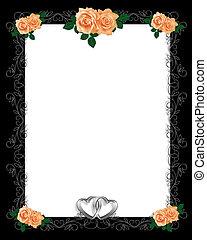 Peach Roses on Black Frame