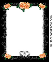 Peach Roses on Black Frame
