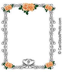 Peach Roses Wedding Invitation