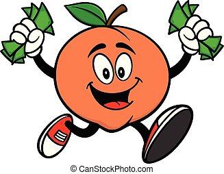 Peach Running with Money