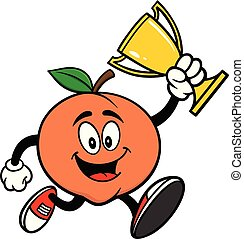 Peach Running with Trophy